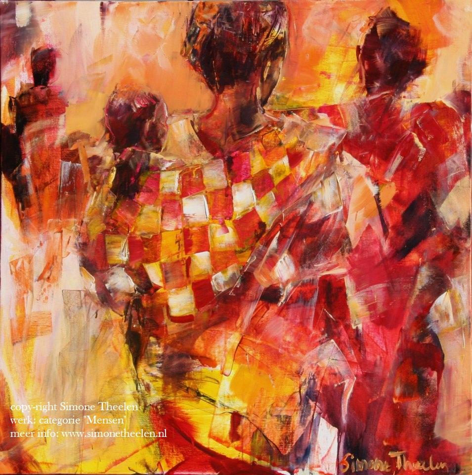 Schilderij Simone Theelen - categorie Mensen - Kleurrijke Wereld Sieraden