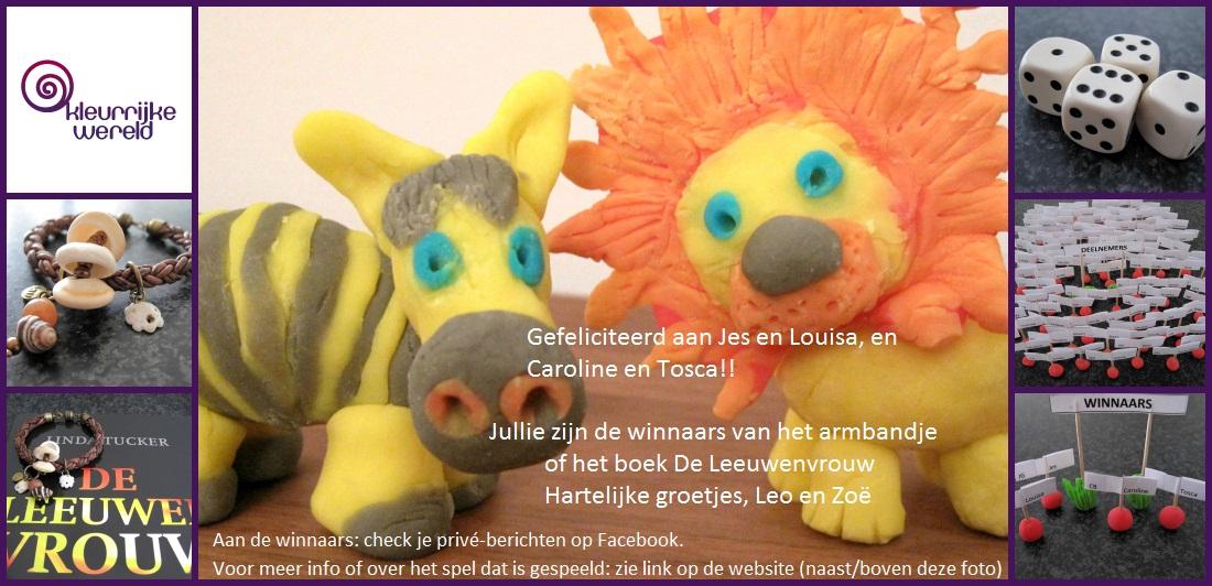 Facebook winnaars Actie 1 - leren armband en boek Leeuwenvrouw - Kleurrijke Wereld Sieraden