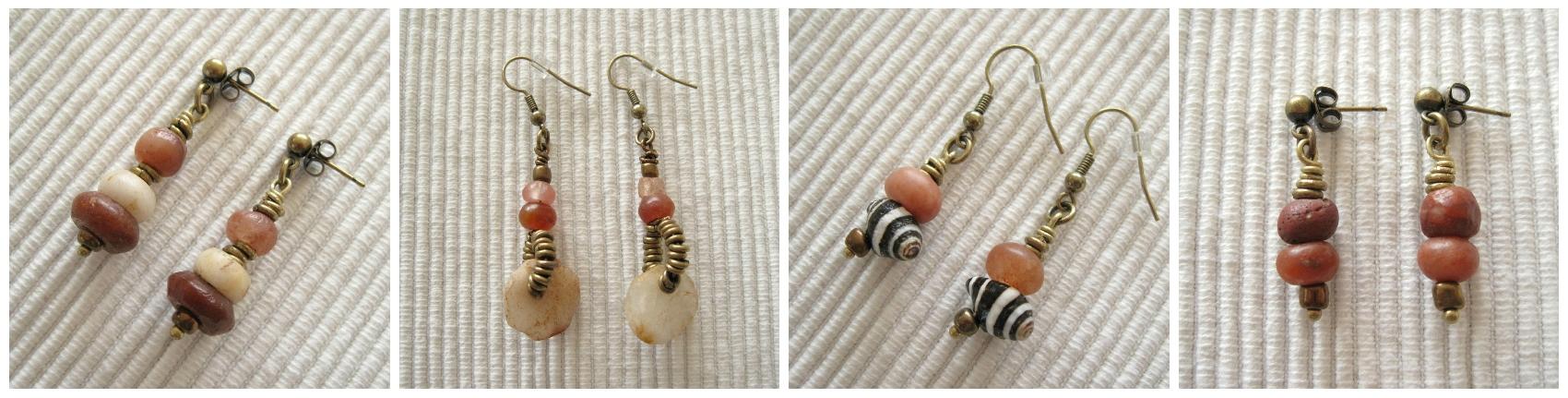 oorbellen met edelstenen of handelskralen - Kleurrijke Wereld Sieraden
