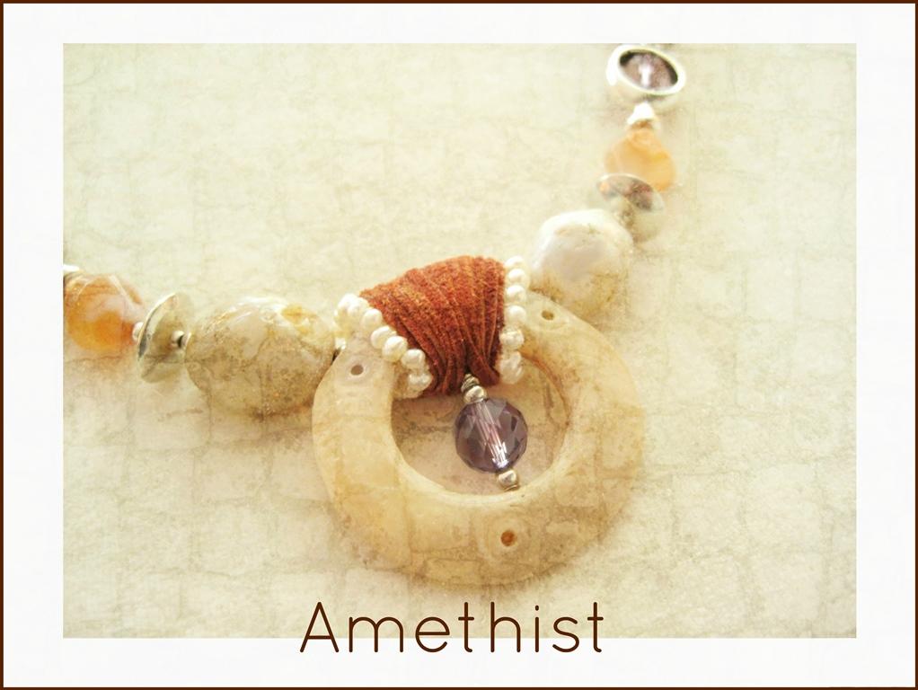 Amethist met pre-columbiaanse schelp - 5  Kleurrijke Wereld Sieraraden