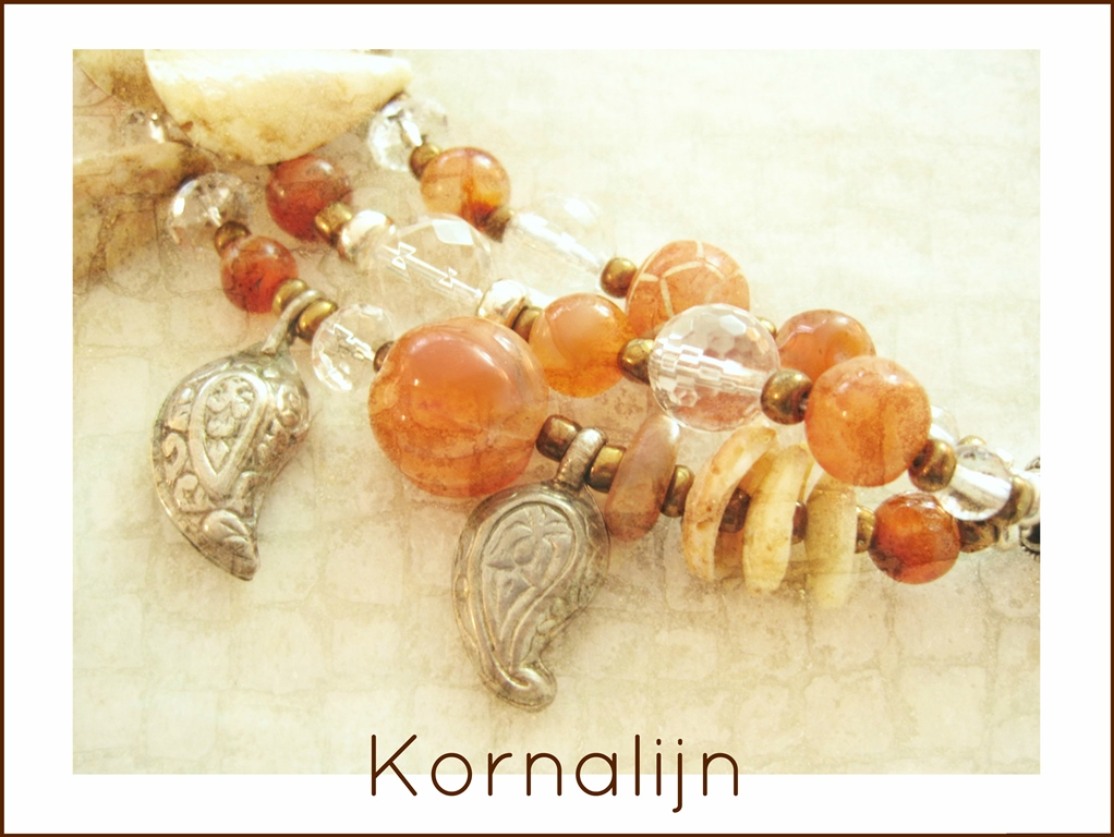 Antieke Kornalijn en Bergkristal - 5 - Kleurrijke Wereld Sieraden