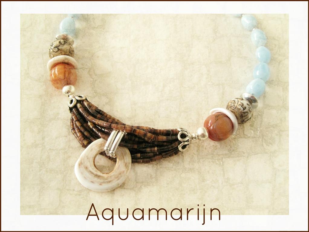 Aquamarijn met oude schelp - 5 - Kleurrijke Wereld Sieraden