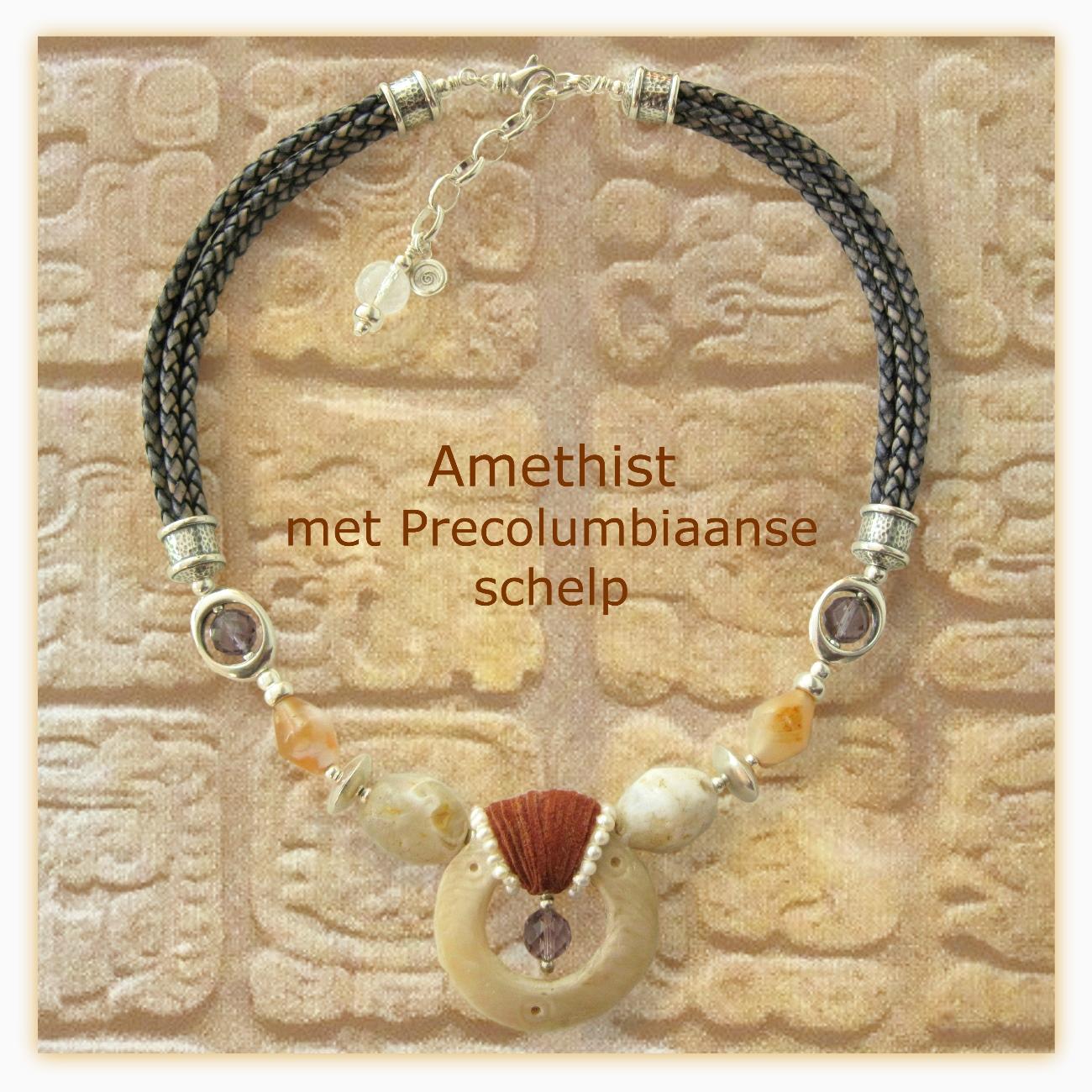 Amethist met precolumbiaanse schelp en neolithische kwarts - Kleurrijke Wereld Sieraden