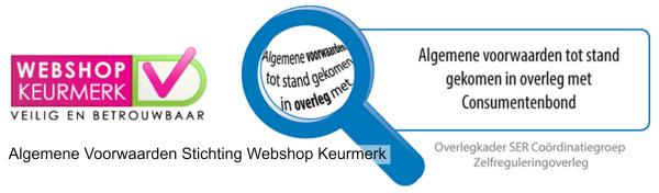 Algemene Voorwaarden juni 2014 - logo webshop en consumentenbond -kleurrijke wereld sieraden 600x176